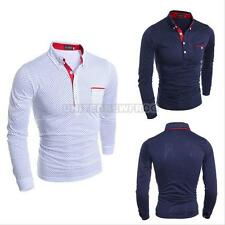 Fashion Mens Luxury Long Sleeve Polo Shirt Casual Slim Fit Stylish Dress Shirts