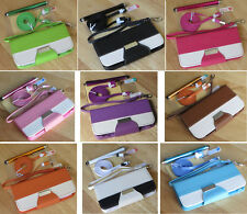 Multi Color PU Leather Wallet Stand Flip Pouch Case Cover For iPhone 5 5S