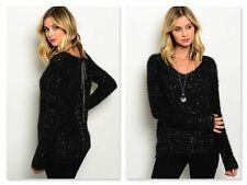 BLACK SOFT SPARKLE SWEATER W/PEWTER BACK LACING (S, M, L)