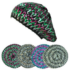 Multi Tone Stretch Shimmer Sparkly Sequin Knitted Ladies Beret Tam Beanie Hat