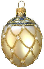 Faberge Mini Egg Christmas Tree Ornament Mouth Blown Polish Glass NIB