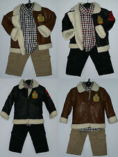 BOYS KIDS PARTY TRACKSUIT SMART LEATHER JACKET OUTFIT OUTDOOR JEAN & SHIRT SET