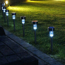 Solar Powered LED Post Lights Stainless Steel Garden Outdoor Lawn Lamp Lighting