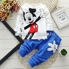 2PCS Toddler Baby Boys Mickey Mouse Tops Pants Long Sleeve Outfit Trousers Set