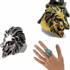 Stainless Steel Lion's Head Ring Men's Vintage Cool Ring American Size 8-10 Best