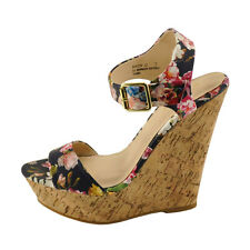 Bamboo Booth 12 Navy Floral Women's Open Toe Platform Wedge Sandals