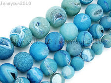 "Natural Druzy Quartz Matte Blue Agate Gemstone Round Beads 15.5"" 10mm 12mm 14mm"