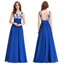 Womens Applique Long Prom Formal Party Cocktail Dress Wedding Evening Ball Gown