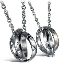 Stainless Steel Rings Matching Love Heart His and Hers Couple Pendant Necklace