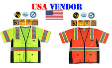Ansi Class 3 High Vis Executive Deluxe Safari Reflective Safety Vest ALL SIZES