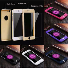 Ultra thin 360° Hard Hybrid Case Cover + Tempered Glass For iPhone 5 6 6S 7 Plus