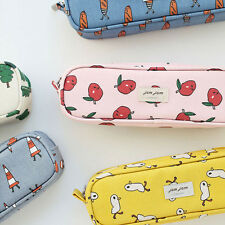 Jam Jam Long Piping Pencil Case - Zipper Pen Pouch - Canvas Fabric Pencil Bag