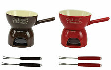 LP27572 CERAMIC CHOCOLATE FONDUE SET RED BROWN COLOUR STAINLESS STEEL FORKS GIFT