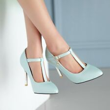 Womens Stiletto High Heel T-Strappy Ankle Buckles Pointed toe Pump Shoes Plus SZ