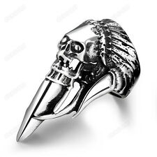 Men's Retro Skull Mask Punk Ring Fashion 316L Stainless Steel Jewelry Size 8 -11