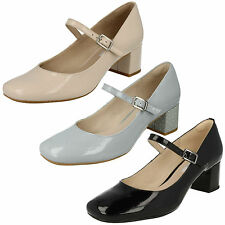 LADIES CLARKS CHINABERRY POP LEATHER PATENT MARY JANE STYLE BLOCK HEEL SHOES