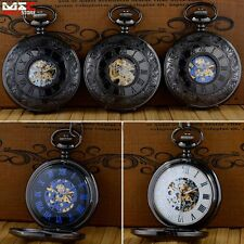 Vintage New Mechanical Skeleton Steampunk Mens Pocket Watch Necklace Chain Gift
