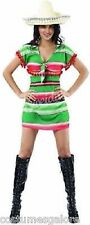 Ladies Costume Fancy Dress Up SW Mexican Dress Green Red Stripes 6 8 10 12 14