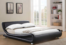 NEW Italian Designer Bed Frame Double or King Size Faux Leather Bed and Mattress