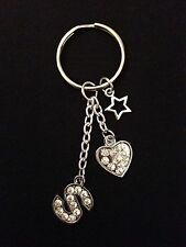 Sparkly silver tone letter charm keyring/bag charm, alphabet, initial,great gift
