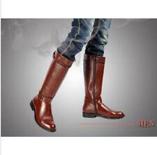 Punk Men's Kight Boot Zipper Pointed Toe PU Leather Riding Knee High Boots Shoes