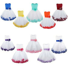 Flower Girl Princess Pageant Wedding Bridesmaid Party Formal Petal Dress 2-14Yrs