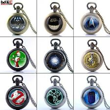 Vintage Antique Pocket Watch Quartz Pendant Necklace Chain Men's Punk Watch Gift