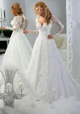 2016 New Long Sleeve White/Ivory Lace Wedding Dress Bridal Gown stock Size 6 18+