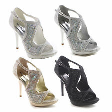 Beston BB24 Women's Stiletto Rhinestone Criss Cross Strap Glitter Dress Sandal