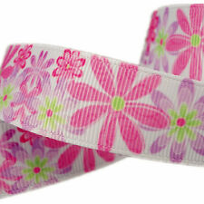 "7/8"" Pink Daisy Flowers Spring Picnic Decorations Grosgrain Ribbon Bows HairBows"