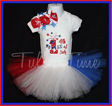 Baby's First 4th of July body suit onesie tutu dress outfit with bow all sizes