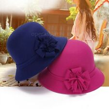 Women Vintage Imitation Wool Flower Felt Hat Winter Cloche Bucket Cap  Tool