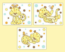 Cheetah Safari Animal Wall Art Prints Baby Girl Boy Jungle Zoo Nursery Decor