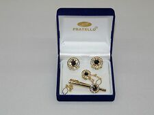 Mens Cuff Links Set Fratello Genuine Hand Made Gold Black with Matching Tie Bar