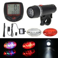 Bicycle Computer Speedometer 5LED Mountain Bike BMX Cycling 5Mode Head Rear Lamp