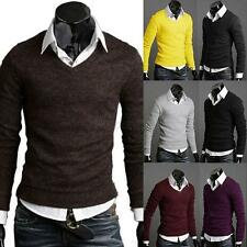 Stylish Men Casual Slim Fit V-neck Knitted Cardigan Pullover Jumper Sweater E64