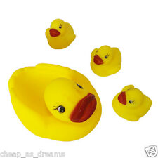 4 Yellow Rubber Ducks Bathtime Squeaky Bath Toy Water Play Kids Toddler
