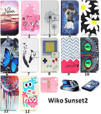Flip PU Leather Wallet Card Holder Case Rubber Stand Cover F Wiko Sunset&Sunset2