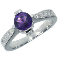 Amethyst Gemstone Fancy Shape Ring Band Sterling Silver Ring