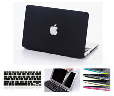 "Black Rubberized Hard Case Cover Skin Sleeve Set Macbook Pro 13/15"" Air 11/13"""