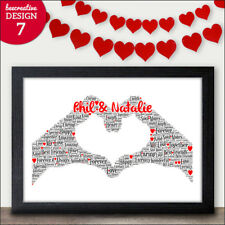 PERSONALISED Valentines Day Gifts - Valentines Word Art Him Her Husband Wife
