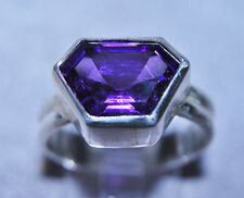 Amethyst 3.85ct Faceted Gemstone Handcrafted Sterling Silver Ring