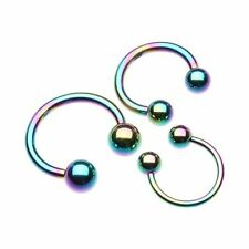 Basic Rainbow Horseshoe Circular Barbell 316L Surgical Steel (Sold Individually)