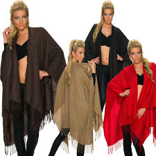 Ladies Poncho Shawl with Lurex Fringes One Size Fits All Cape Pullover Warm