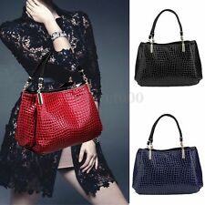 Fashion Women Ladies Crocodile PU Leather Shoulder Bag Handbag Purse Tote Bags
