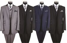 Men's 3 Piece Luxurious Wool Feel 2 Button Suit with Pants and Vest 5723 38R~56L