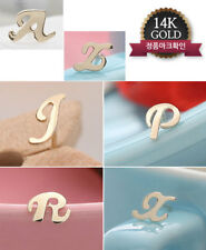 14K Yellow Gold Unisex Initial Alphabet Earrings Letter A Z 1 stud (not a pair)
