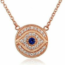 925 Sterling Silver White Blue CZ Round Hamsa Evil Eye Womens Pendant Necklace