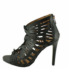 Anne Michelle SugarLove-35M Women's Black Lace Up Caged Stiletto