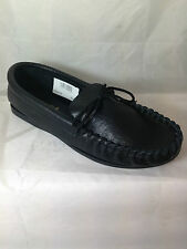 MENS BLACK REAL LEATHER MOCCASIN SLIPPERS,ENGLISH, BOAT SIZE 11